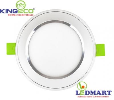 Đèn led âm trần 7W 3 màu viền bạc mặt phẳng KingEco EC-DLP-7-T120-DM-B