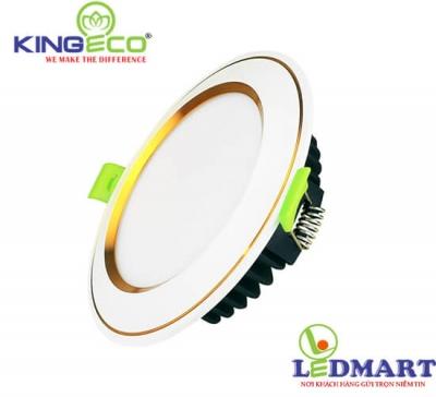 Đèn led âm trần 7W 3 màu viền vàng mặt cong KingEco EC-DLC-7-T120-DM-V