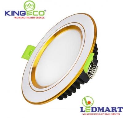Đèn led âm trần 7W 3 màu viền vàng mặt phẳng KingEco EC-DLP-7-T120-DM-V
