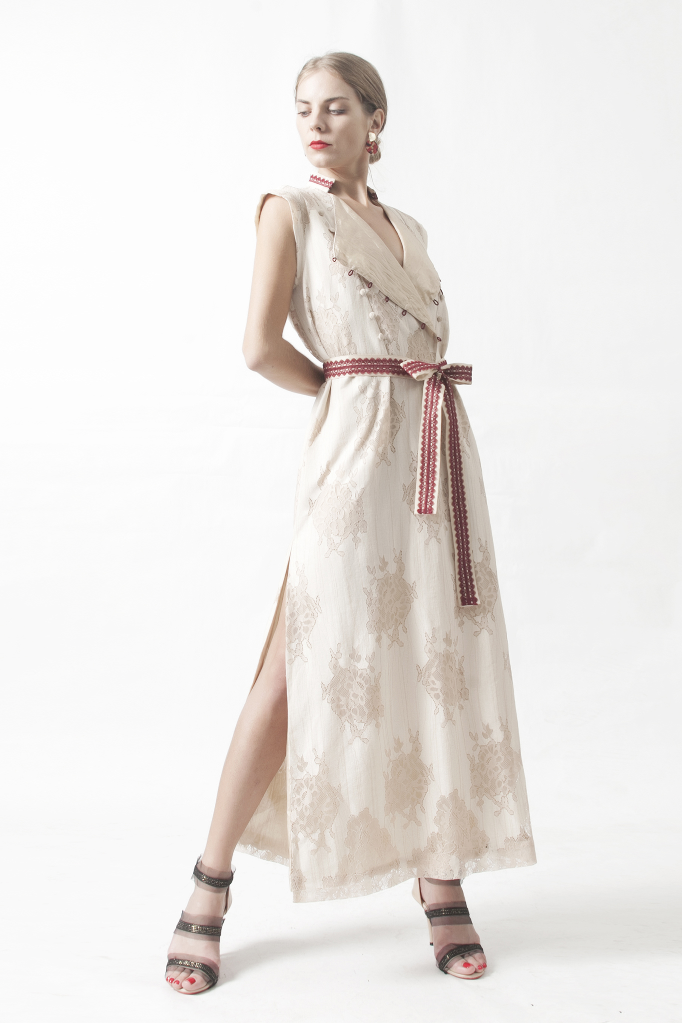 Lace Bib Maxi Dress