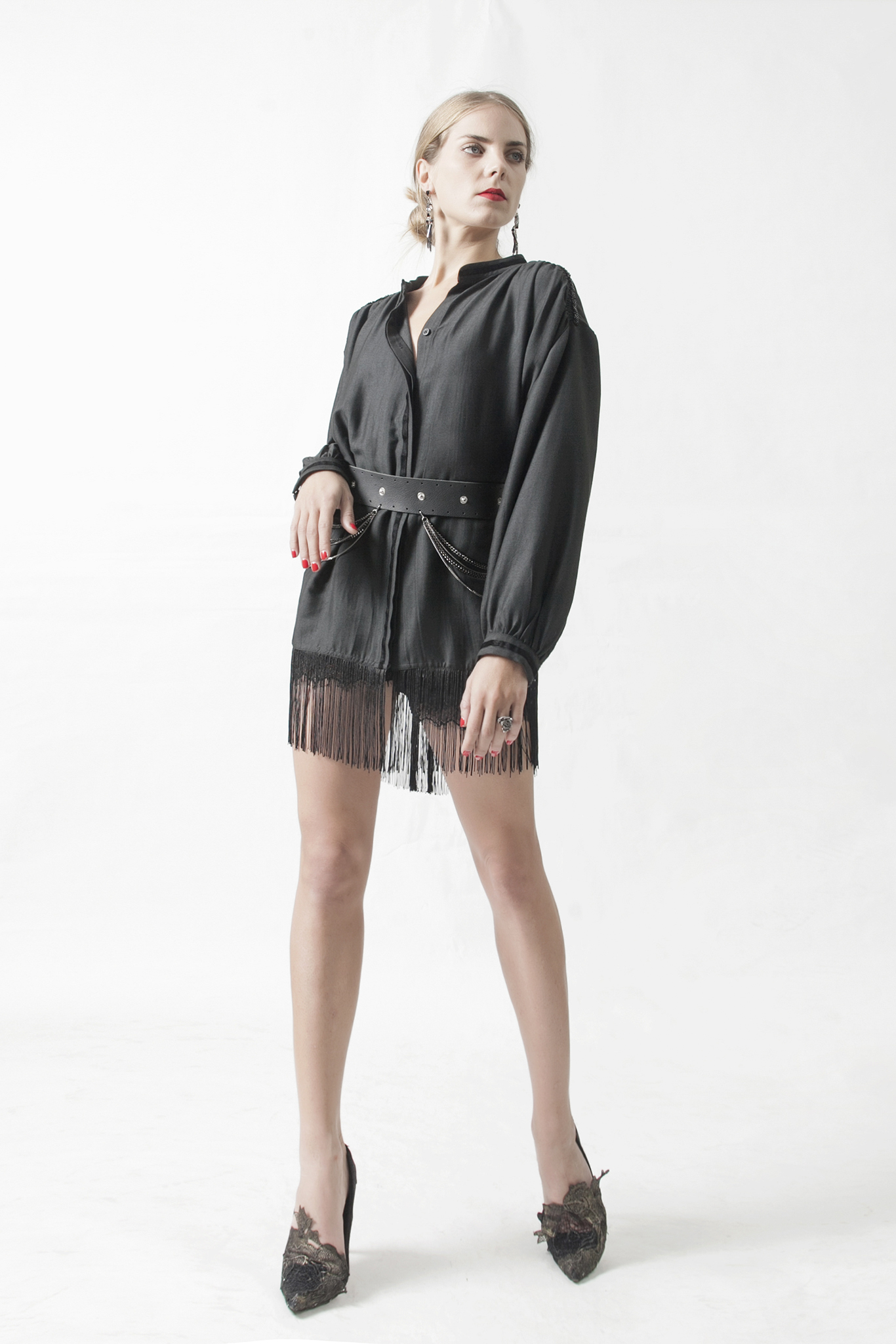 Fringe Mini Shirt Dress