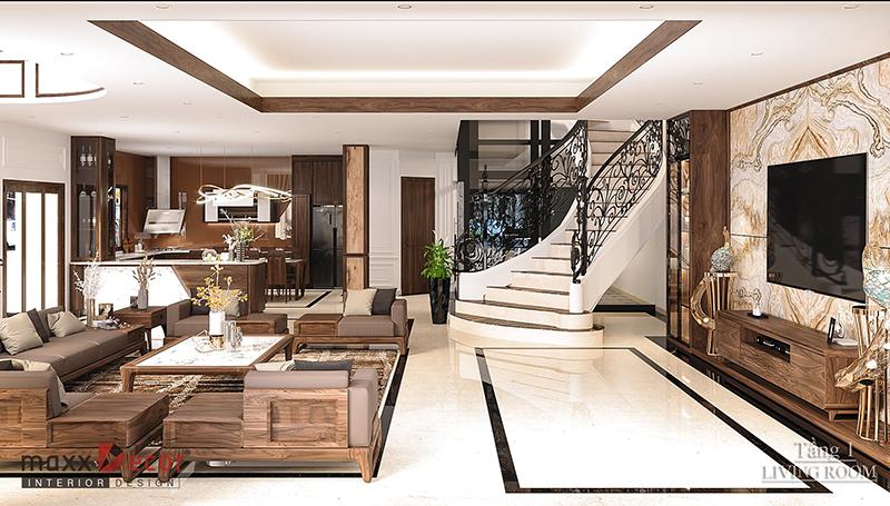 Không gian nội thất gỗ óc chó tại biệt thự Bắc Giang