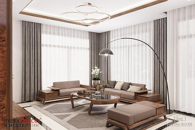 Đẹp độc lạ với nội thất phòng khách với gỗ óc chó tại Bắc Giang
