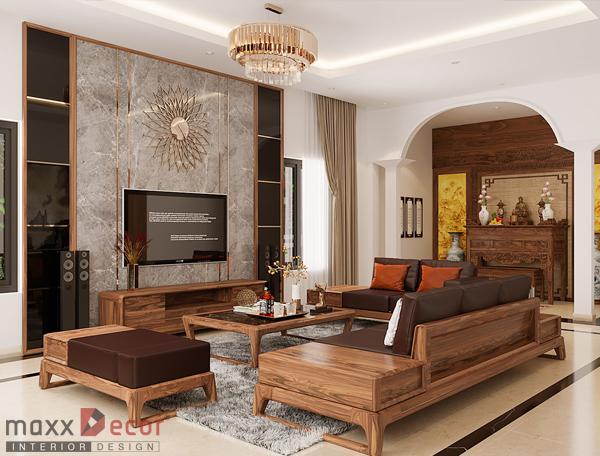 Vẻ đẹp hút mắt nội thất nhà phố gỗ óc chó tại Hòa Bình