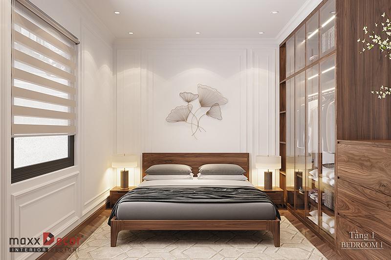 Nhẹ nhàng tiện nghi trong phòng ngủ gỗ óc chó biệt thự Hải Dương