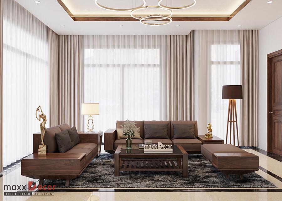 Mẫu sofa gỗ óc chó chữ U MDG 177w