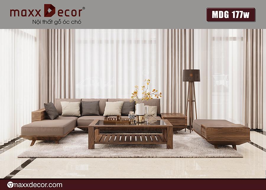 Sofa góc gỗ óc chó hiện đại MDG 177w
