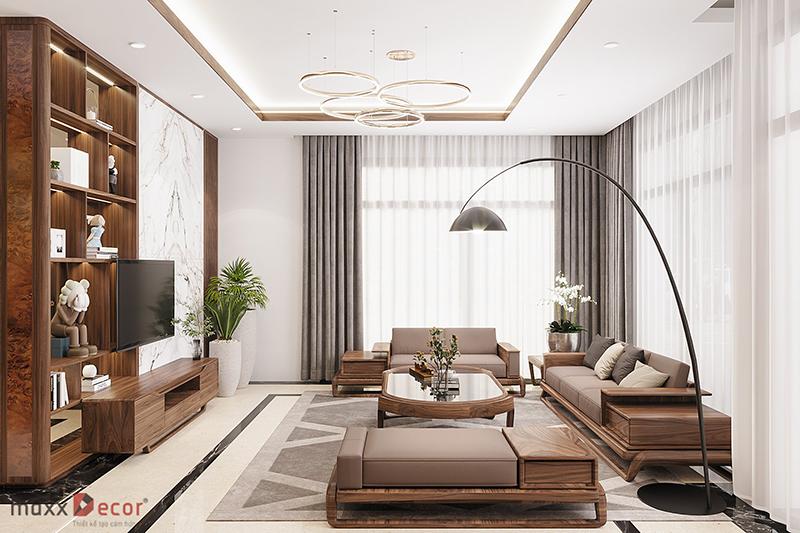 Sofa gỗ óc chó MDG 233w cao cấp