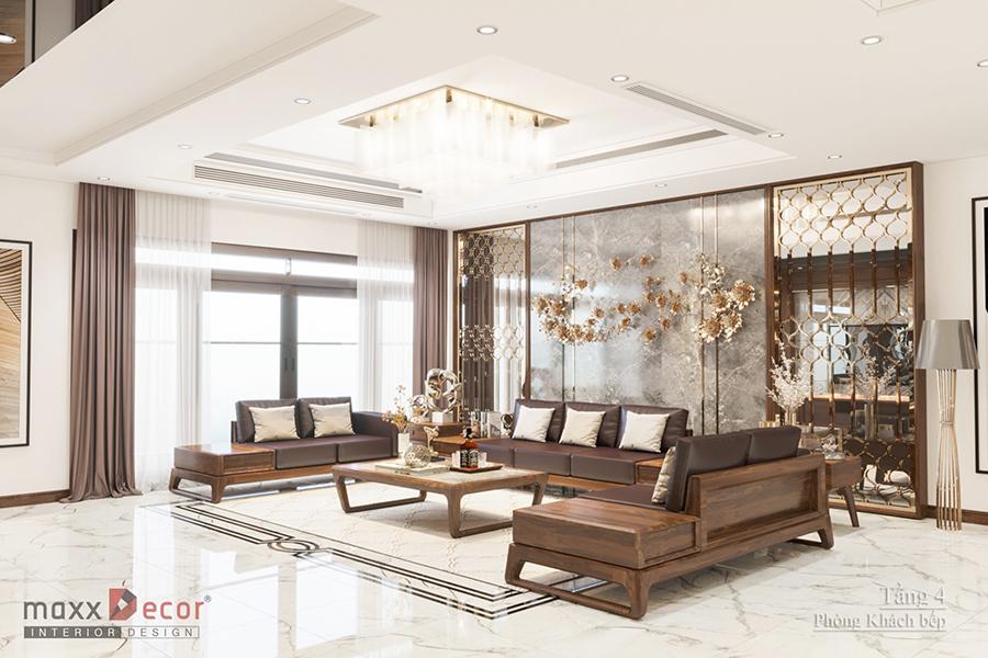 Không gian nội thất gỗ óc chó đẳng cấp trong biệt thự Hà Nội