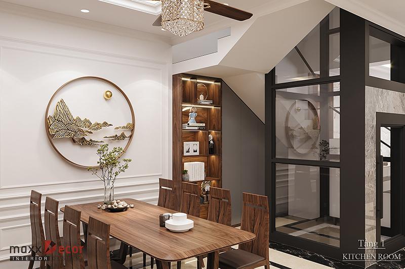 Không gian nội thất gỗ óc chó nhà lô mang nét đẳng cấp
