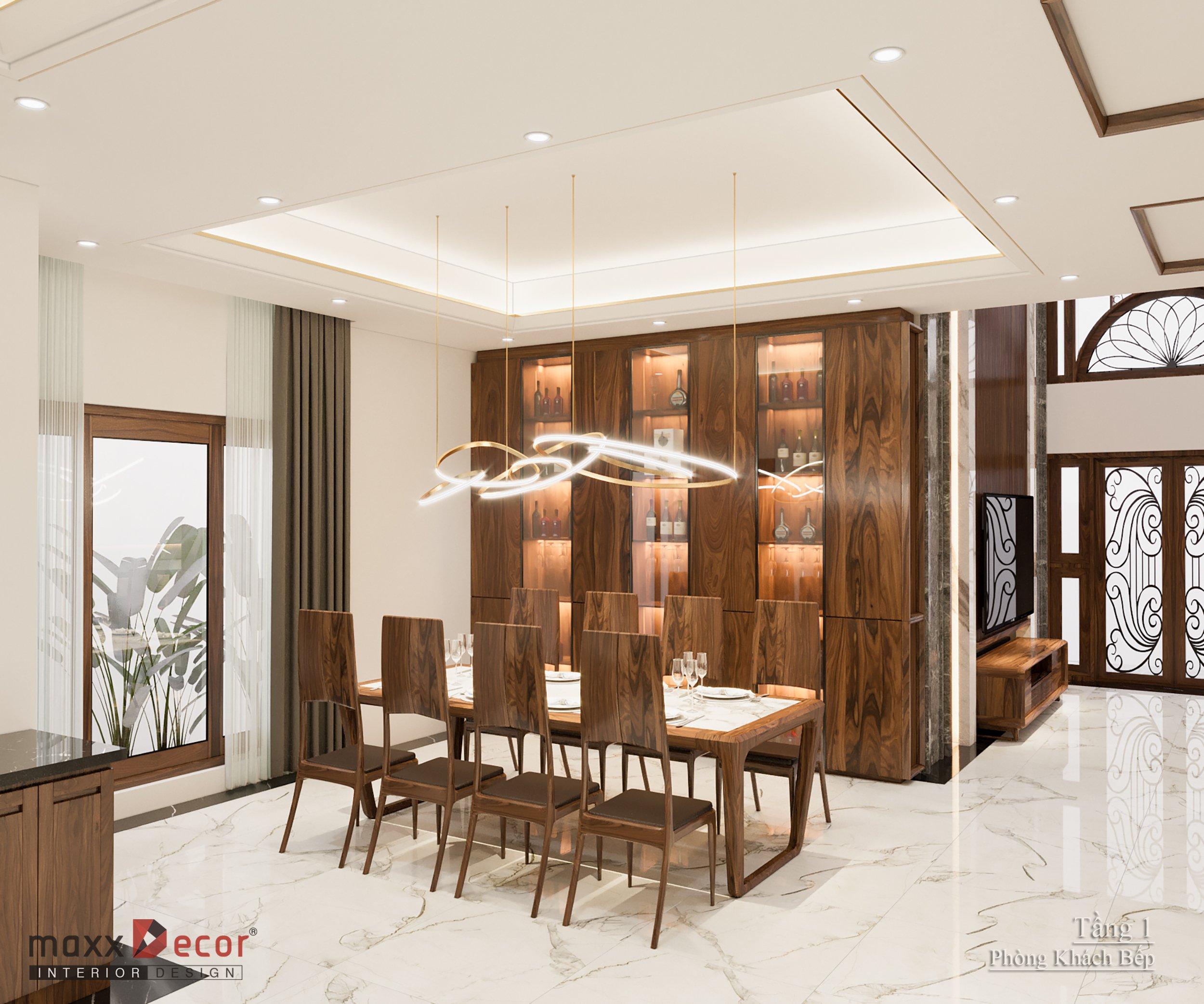 Thiết kế nội thất gỗ óc chó biệt thự Bắc Giang