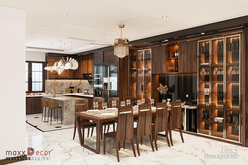Thiết kế nội thất biệt thự gỗ óc chó tinh tế Anh Mạnh - Hà Nội