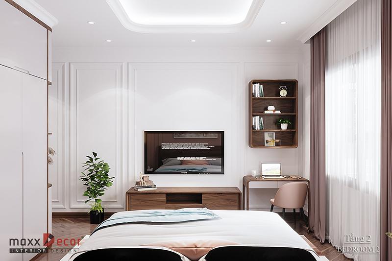 Thiết kế không gian nội thất gỗ óc chó hiện đại Biệt Thự Ninh Bình