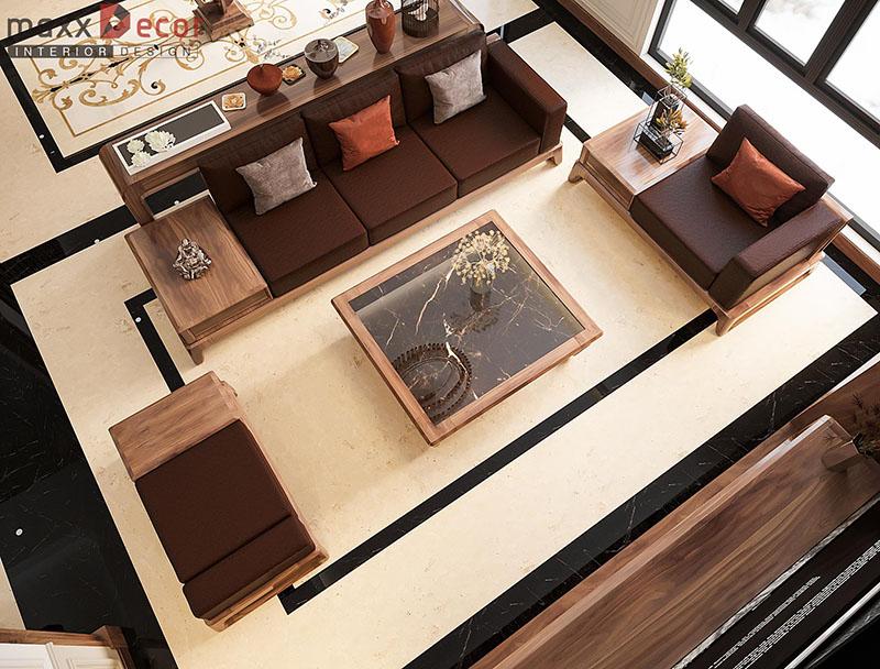 Vẻ đẹp kiêu sa trong nội thất biệt thự gỗ óc chó tại Lạng Sơn