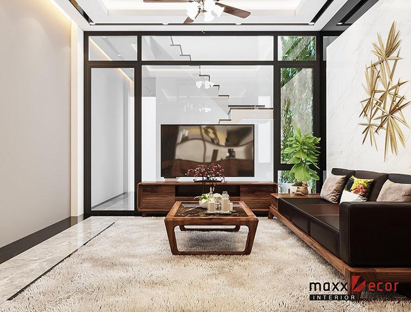 Phòng khách gỗ óc chó mang đẳng cấp không gian sống