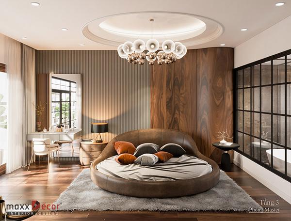 Nội thất phòng ngủ gỗ óc chó Biệt Thự Bắc Giang