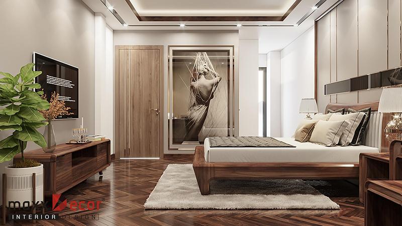 Nội thất phòng ngủ gỗ óc chó hiện đại ấm cúng