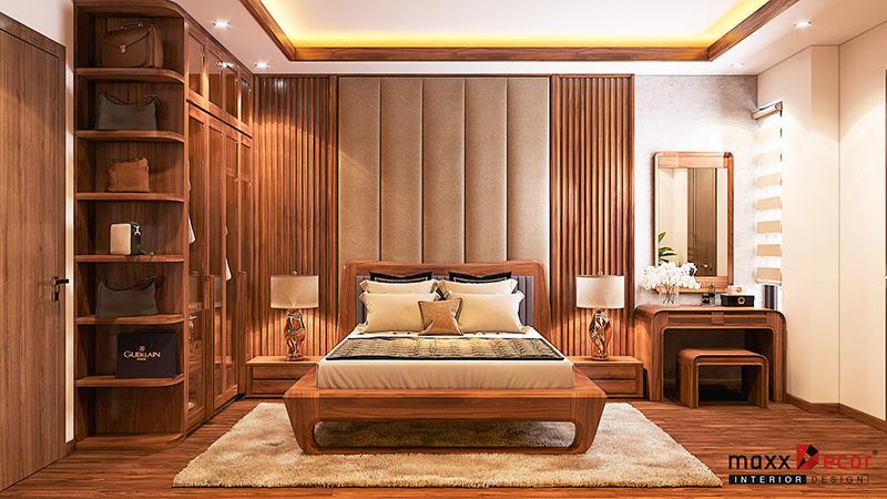 Thiết kế không gian nội thất phòng ngủ gỗ óc chó đẳng cấp