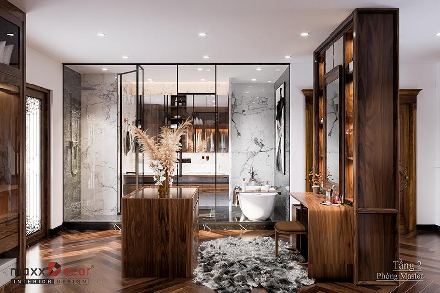 Thiết kế nội thất gỗ óc chó biệt thự 3 tầng anh Hùng ở Hải Dương