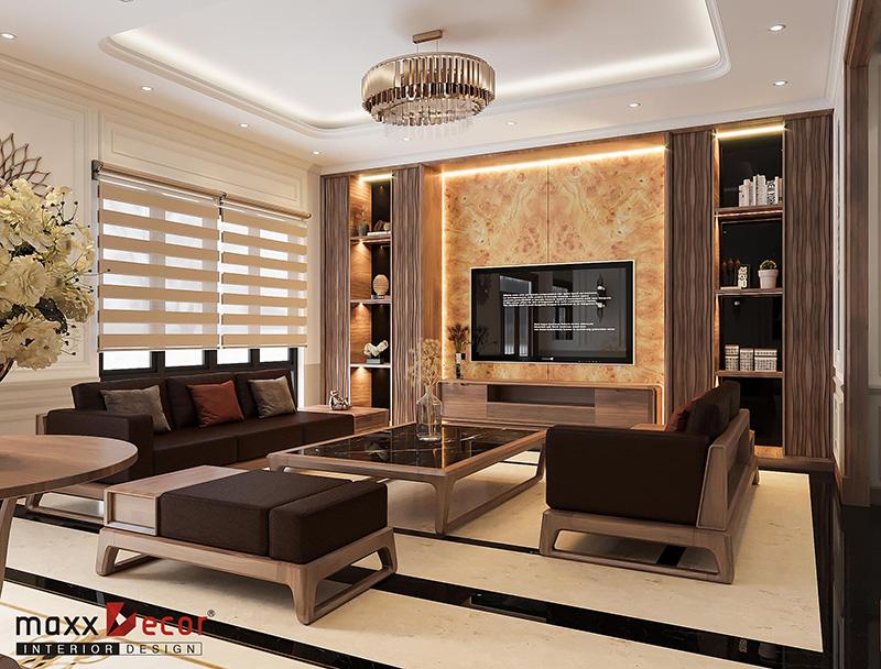 Không gian nội thất gỗ óc chó anh Thắng - Lạng Sơn