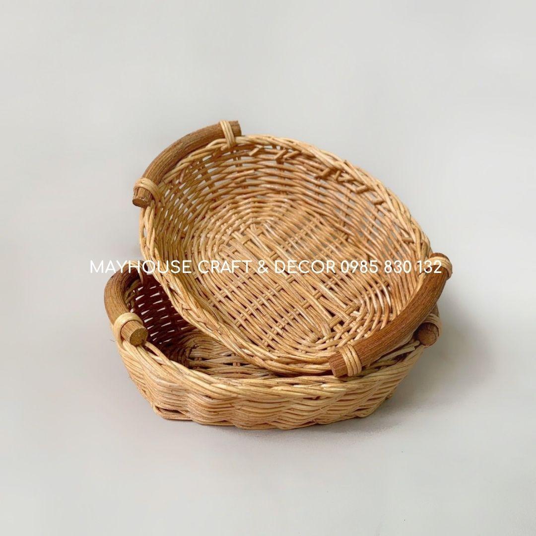 Khay sọt mây đan thủ công quai gỗ phụ kiện chụp ảnh Mayhouse