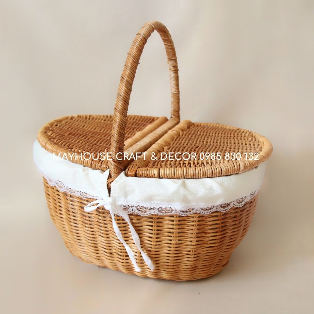 Giỏ mây picnic trang trí có lót vải, décor Mayhouse