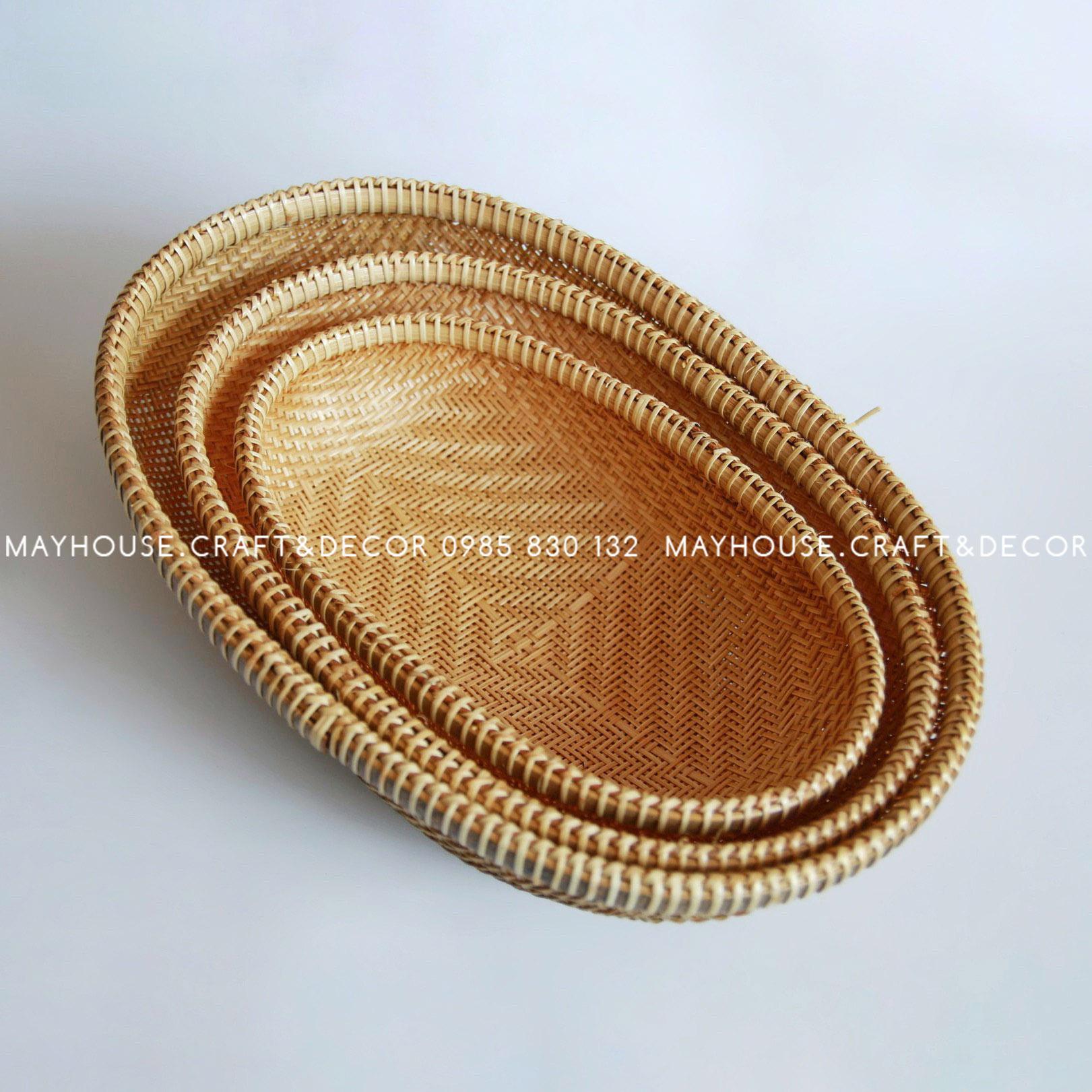 Rổ tre oval xuồng lồng bàn đan sưa BL, không chân