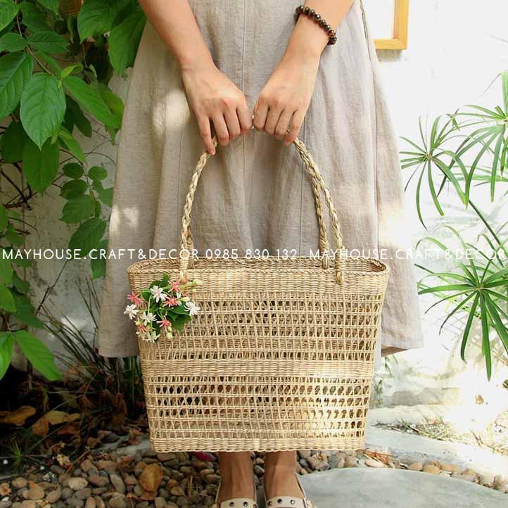 Túi cói chẻ đan chữ nhật