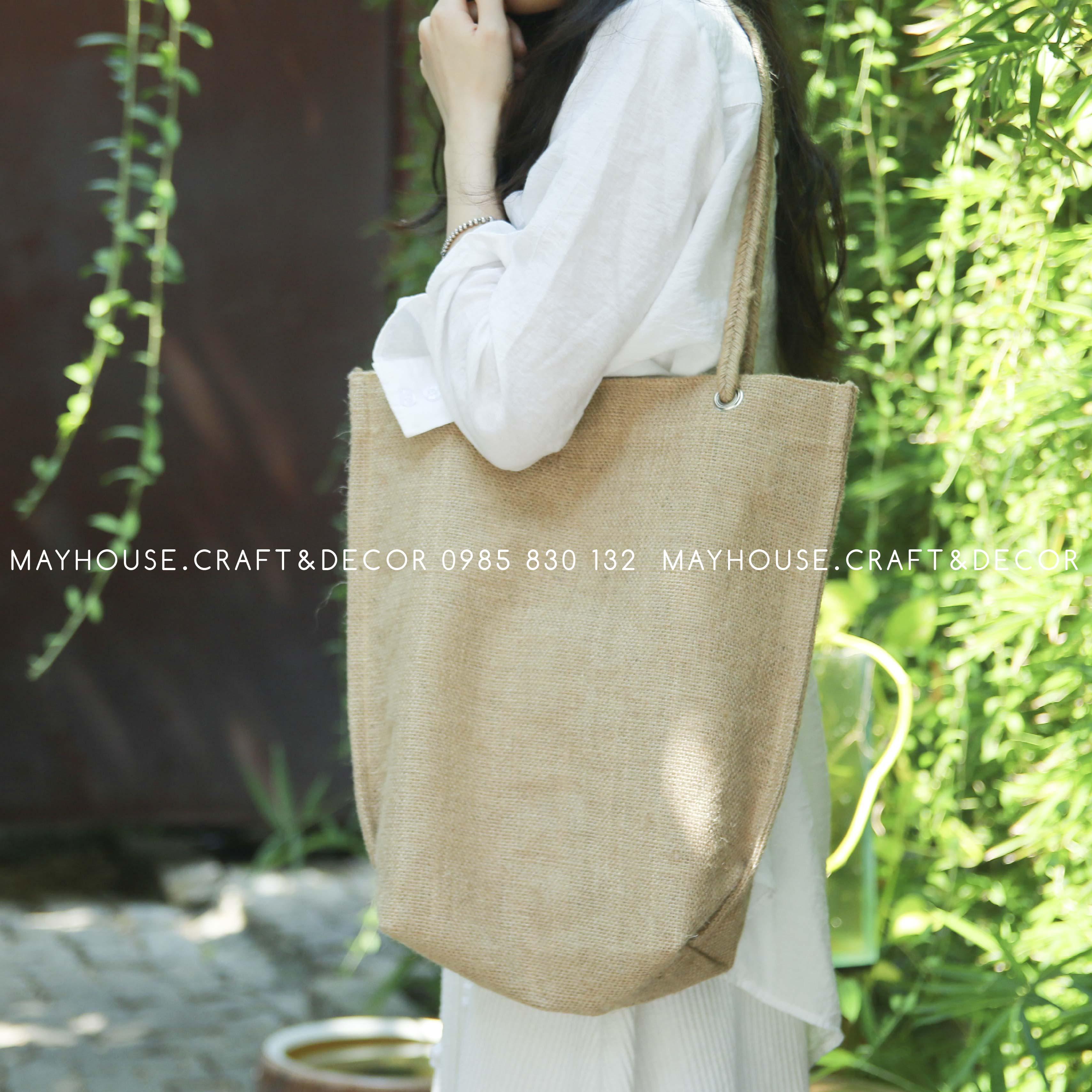 Túi vải đay quai thắt bím