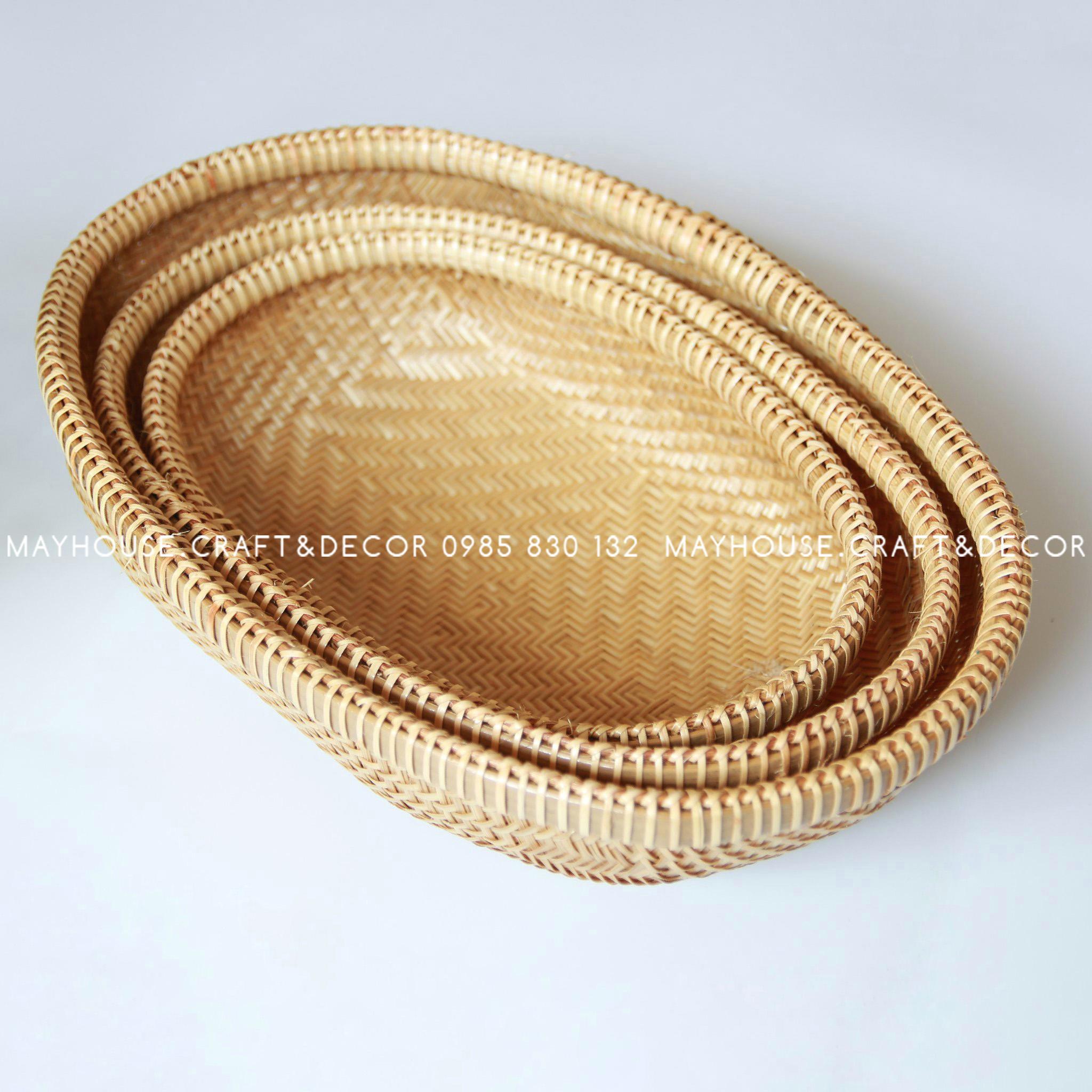 Rổ tre oval xuồng lồng bàn đan sít BL, không chân