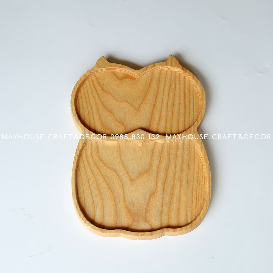 Khay gỗ mặt cú