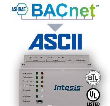 BACnet IP & MS/TP Client to ASCII IP & Serial Server Gateway - INASCBAC6000000
