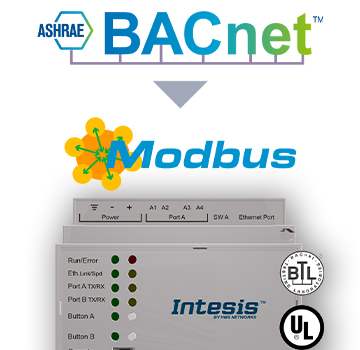BACnet IP & MS/TP Client to Modbus TCP & RTU Server Gateway -  INMBSBAC1000000