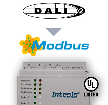 INMBSDAL1280200 - DALI to Modbus TCP Server Gateway - 2 channels