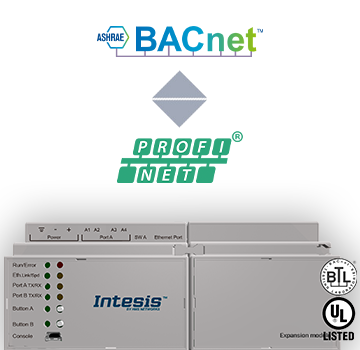 INBACPRT1K20000 - PROFINET - BACnet IP & MS/TP Server Gateway - Intesis Vietnam