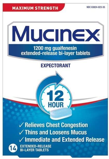THUỐC TRỊ LONG ĐỜM, TẮT NGHẼN MŨI, NGỰC TỐI ĐA SUỐT 12H MUCINEX MAXIMUM STRENGHT 12 HOU EXPECTORANT RELEASE