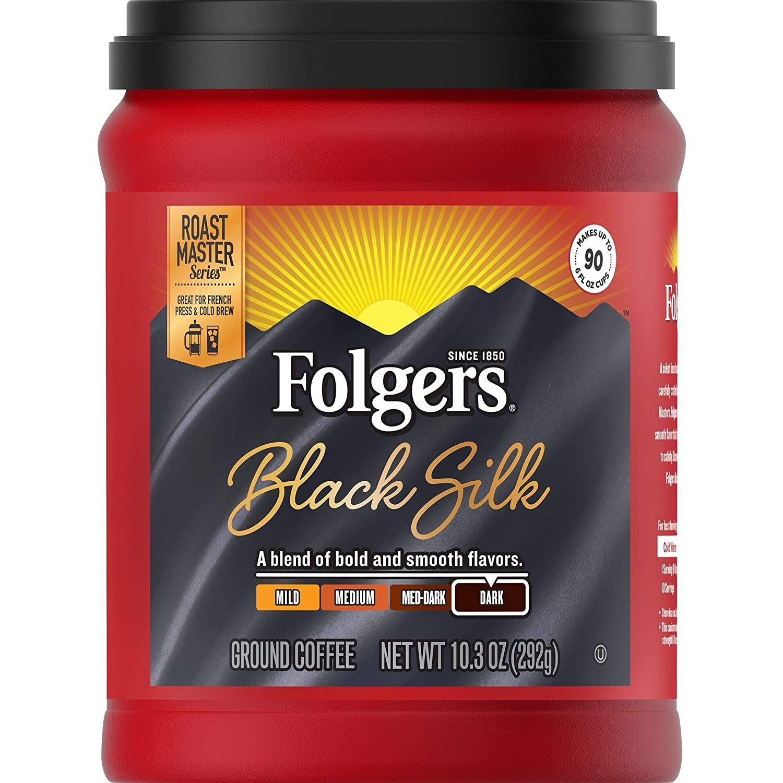 CÀ PHÊ ĐEN XAY, RANG ĐẬM FOLGERS BLACK SILK GROUND COFFEE, DARK ROAST