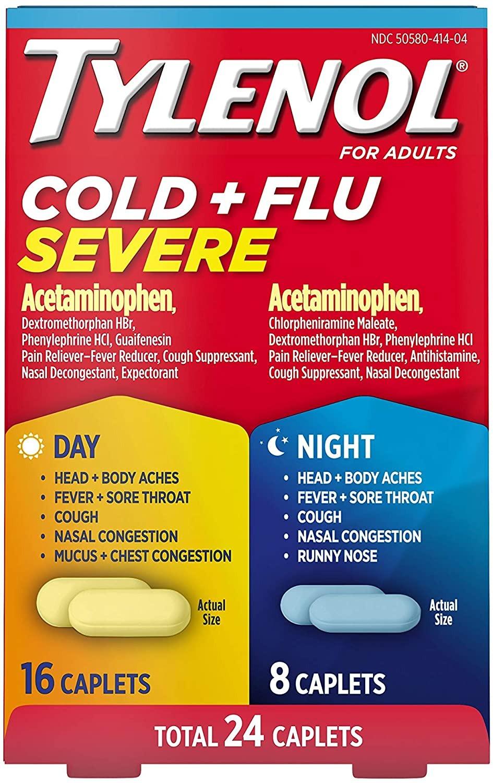 THUỐC TRỊ CẢM CÚM, CẢM LẠNH NGÀY VÀ ĐÊM TYLENOL COLD & FLU SEVERE DAY & NIGHT CAPLETS FOR FEVER, 24 VIÊN