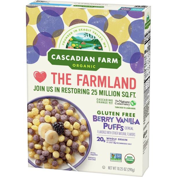 NGŨ CỐC CHUỐI, MÂM XÔI VANI HỮU CƠ CASCADIAN FARM ORGANIC BERRY VANILLA PUFFS CEREAL, GLUTEN FREE