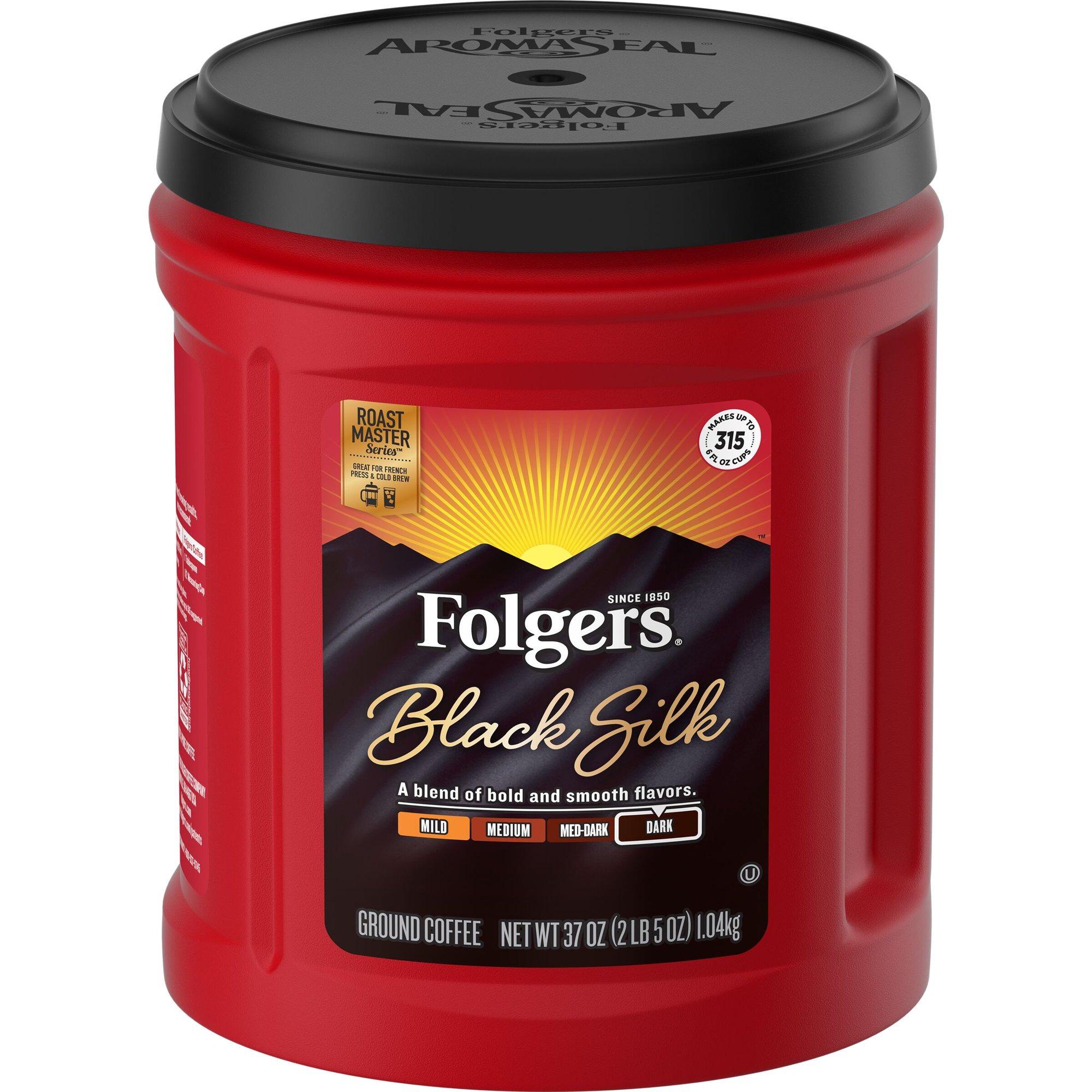 CÀ PHÊ ĐEN XAY, RANG ĐẬM FOLGERS BLACK SILK GROUND COFFEE 1.04KG