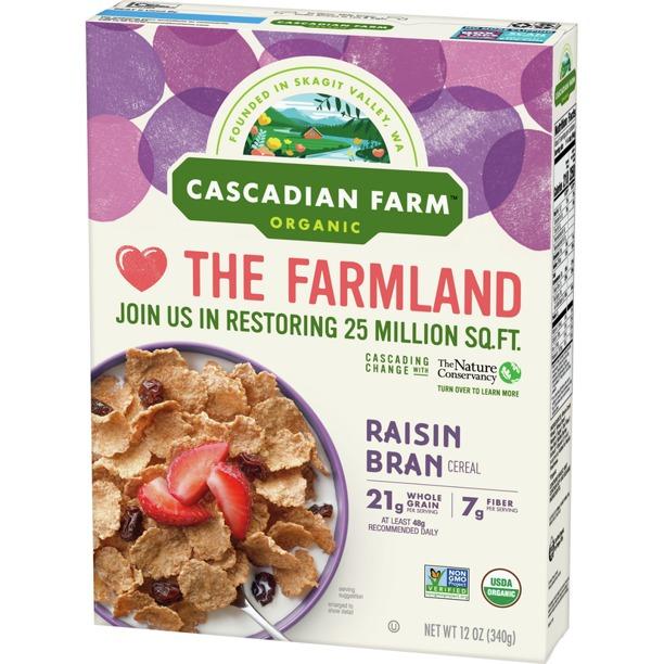 NGŨ CỐC CÁM NHO KHÔ HỮU CƠ CASCADIAN FARM ORGANIC RAISIN BRAN CEREAL