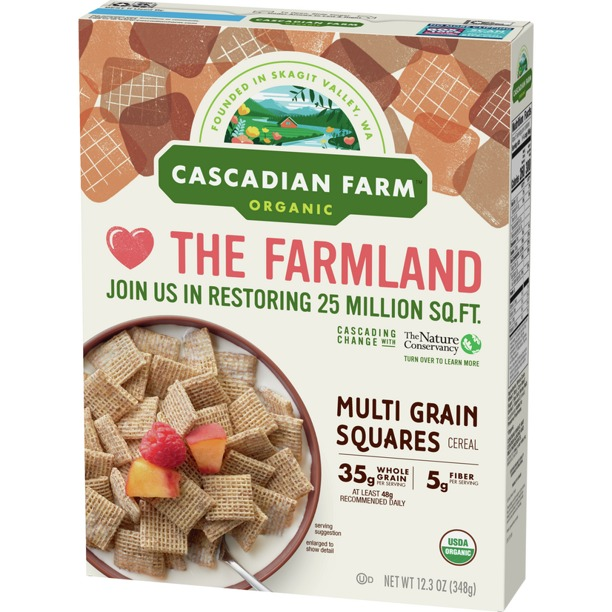 NGŨ CỐC ĐA HẠT HỮU CƠ CASCADIAN FARM ORGANIC MULTI GRAIN SQUARES CEREAL