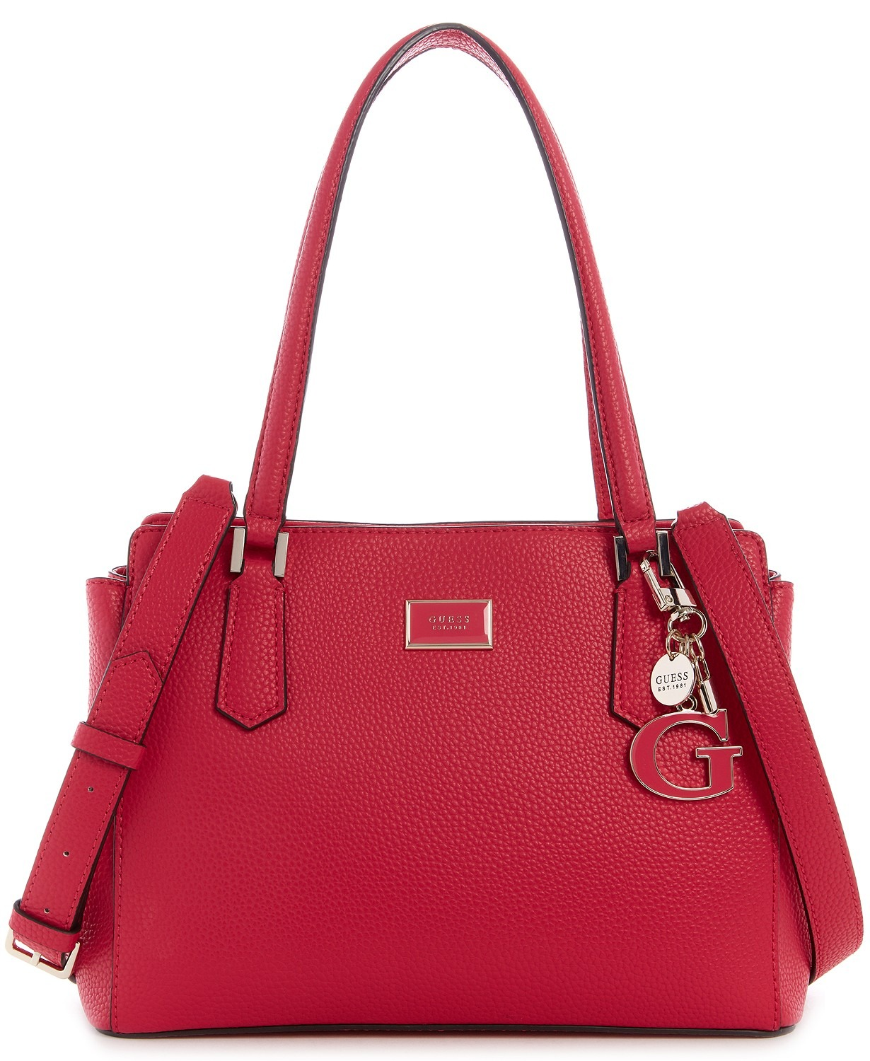 TÚI XÁCH GUESS ALESSI LUXURY SATCHEL, PINK / PALE GOLD