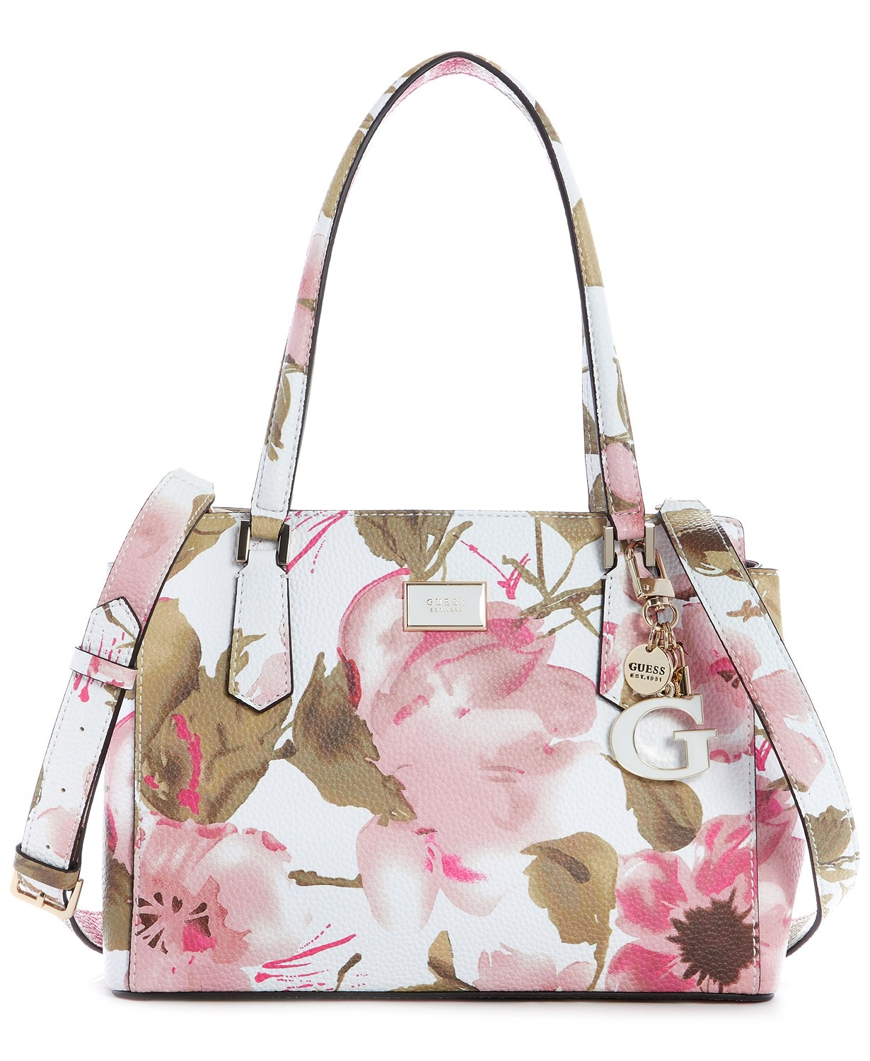 TÚI XÁCH GUESS ALESSI LUXURY SATCHEL, SPRING FLORAL / PALE GOLD