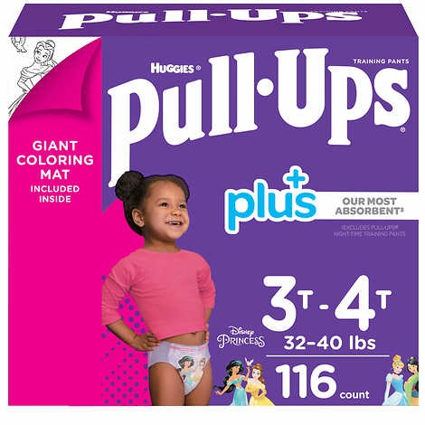 TÃ QUẦN DÀNH CHO BÉ GÁI TỪ 15-18 KG HUGGIES PULL- UPS PLUS TRAINING PANTS FOR GIRLS 3T-4T (32-40 LB/15-18 KG)