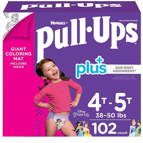 TÃ QUẦN DÀNH CHO BÉ GÁI TỪ 17-23 KG HUGGIES PULL- UPS PLUS TRAINING PANTS FOR GIRLS 4T-5T (38-50 LB/17-23 KG)