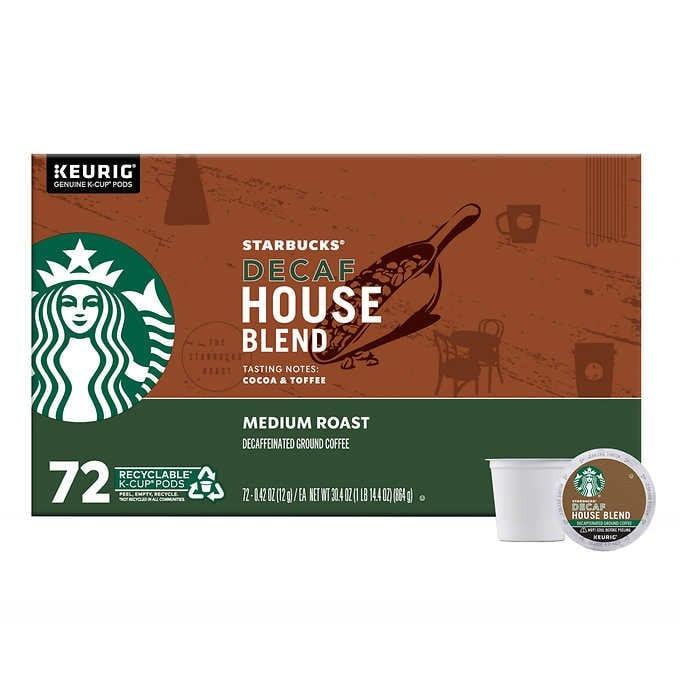 CÀ PHÊ RANG VỪA ĐÃ KHỬ CAFFEIN DẠNG CỐC STARBUCKS COFFEE DECAFFEINATED MEDIUM ROAST HOUSE BLEND K-CUP