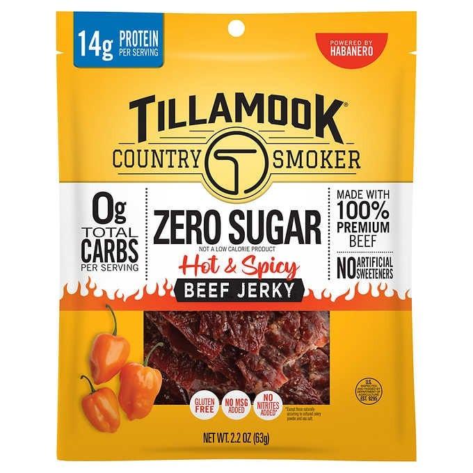 THỊT BÒ KHÔ CAY KHÔNG ĐƯỜNG TILLAMOOK COUNTRY SMOKER ZERO SUGAR BEEF JERKY, HOT & SPICY