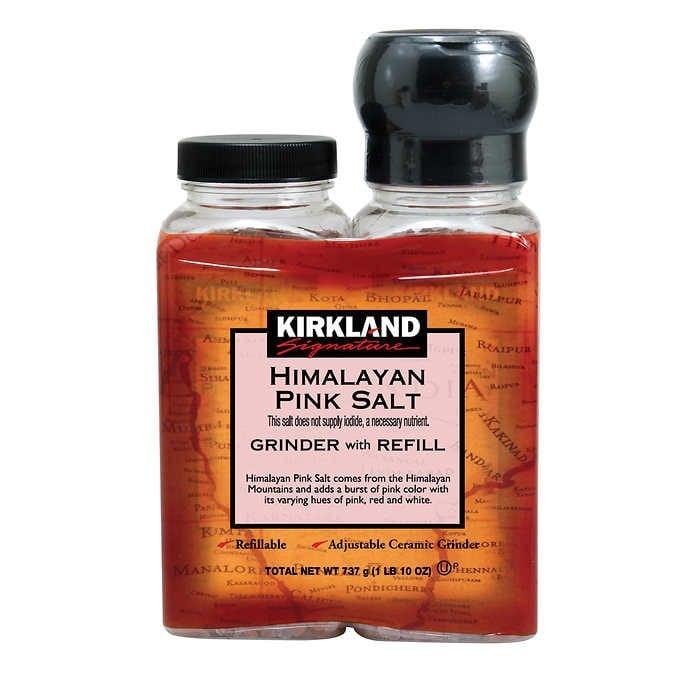 MUỐI HỒNG HIMALAYAN KÈM MÁY XAY CÓ THỂ ĐIỀU CHỈNH KIRKLAND SIGNATURE HIMALAYAN PINK SALT, GRINDER WITH REFILL