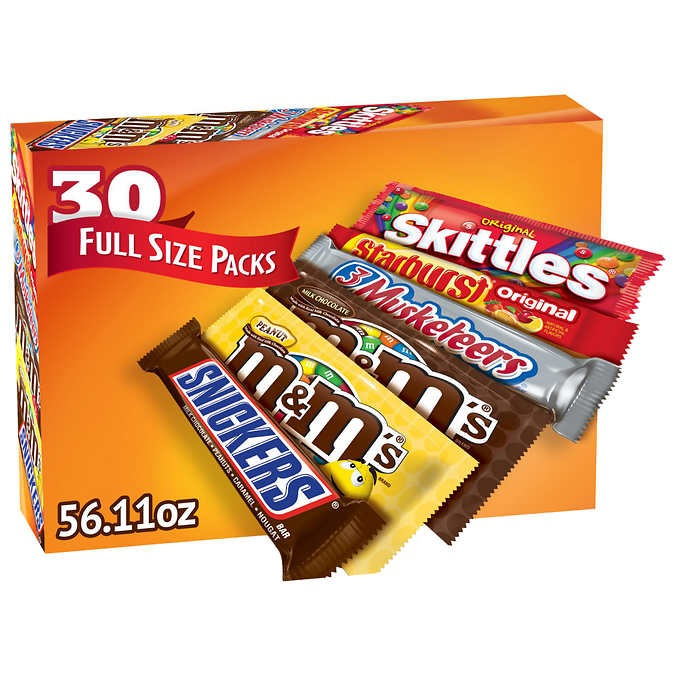KẸO ĐỦ VỊ M&M'S, SKITTLES AND MORE CANDY BARS, VARIETY PACK, FULL SIZE